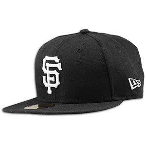 New Era MLB 59Fifty Black & White Basic Cap   Mens   Giants   Black