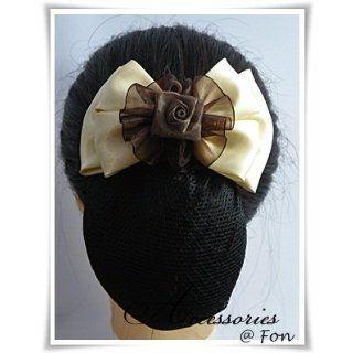 A01 Beautiful Satin Ribbon Flower Brown Yellow Cream Bow