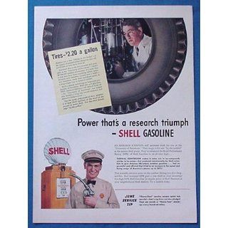 1940s Shell Gasoline Research Gas Pump Print Ad (121): Home & Kitchen