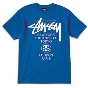 Stussy World Tour T Shirt   Mens   Skate   Clothing   Royal Blue