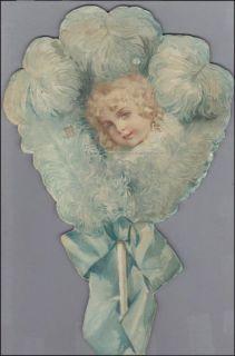 Maud Humphrey Fan Die Cut Huge Scarce Vintage Victorian Card 1891
