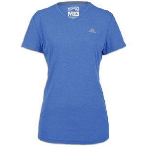 adidas Ultimate V Neck T Shirt   Womens   Lab Blue Heather/Reflective