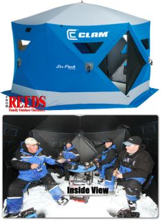 Clam Six Pack 1550 Mag 4 6 Man Ice Fishing Shelter House 9101