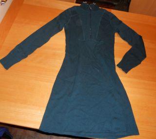 ATHLETA DURANGO TEAL KNIT YOGA ORGANIC WOOL BLEND RIBBED SWEATER DRESS