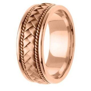 Wedding 14KLAW126 S12 8.5mm 14K Rose Gold Handmade Wedding Band