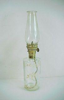 Vintage Glass Oil Hurricane Lamp with Christmas Bells, Horses & Sleigh