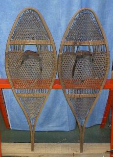 Vintage Old Huron Snowshoes 42x14 Snow Shoes Antique