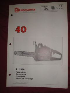 1986 Husqvarna Chain Saw Model 40 Spare Parts Manual SX86 106