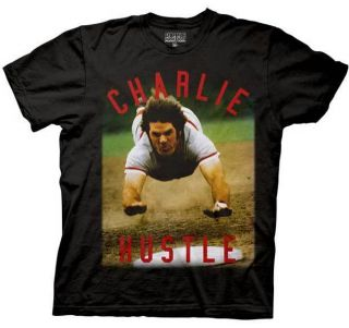 New Authentic Charlie Hustle Pete Rose Adult T Shirt
