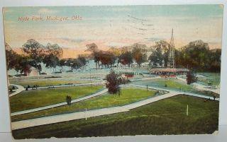 1911 Muskogee Oklahoma Hyde Park Entertainment Area Street Car Station