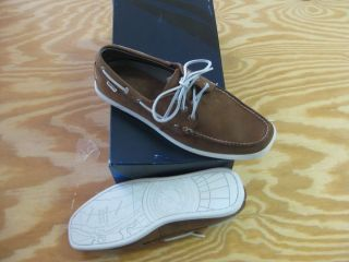 Nautica Hyannis Mens Leather Boat Shoes Sz 13 Tan Dark Carafe Ret$75