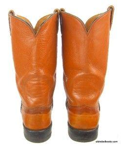 Vintage USA Made Hyer Orange Leather Cowboy Boots Black Piping Olathe