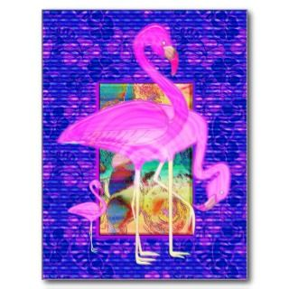 Family of Pink Flamingos Shells and Hibiscus Art Post Card