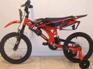 New 16 Hyper Moto Bike (L x W x H): 45.7 x 7.7 x 18.9 Training Wheels