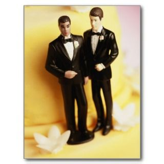 Two Groom Wedding Cake Figurines Postcard