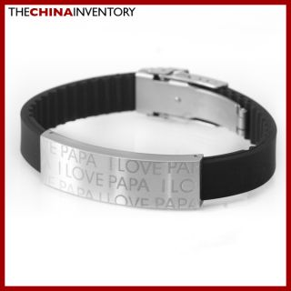 Stainless Steel Black Rubber I Love Papa Tag Bracelet B5001