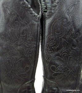 Earth Spirit Maize Black Leather Flower Mad Gator Print Cowboy Boots