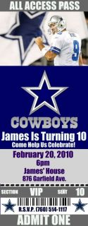 Dallas Cowboys Birthday Invitations 20 Tickets