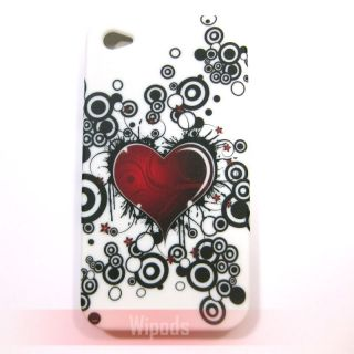 Red Heart Bubble Silicone Soft Back Case Cover Skin for iPhone 4 4G 4S
