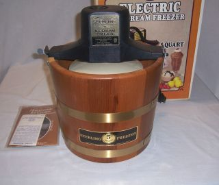 Sterling 5 Qt Ice Cream Maker Freezer Electric Wood Wooden Bucket USA
