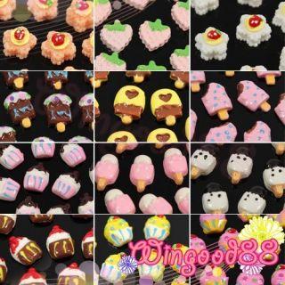 10pcs Lovely 3D Ice Cream Candy Cake Fruit Nail Art Tips Decoration