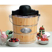 Electric Manual Ice Cream Maker Mixer 4QT Pine Bucket Freezer Wood