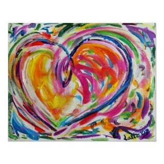 Paint swirls all around this colorful heart that is full of joy and
