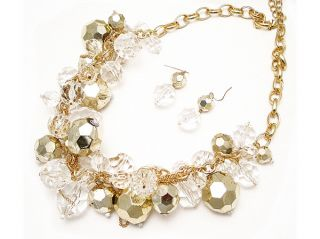 Icon 26 Large Clear Gold Acrylic Multi Beads Necklace Earrings