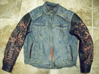 Icon Strongarm Fate Denim Leather Jacket Skulls