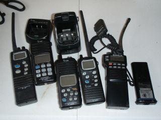 Icom Standard Horizon Handheld Marine VHF Radio Lot of 5 Tech Special