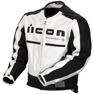 Icon Mens Motorhead Leather Motorcycle Jacket White Black Large 1533
