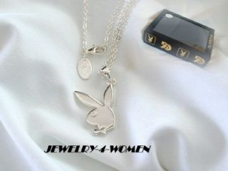Playboy Bunny Silver Plated RHD Icon Pendant Necklace