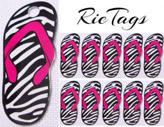 Pet Tag ID Designer Dog Tag Bulk Lot Aluminum Zebra Print Flip Flop 10