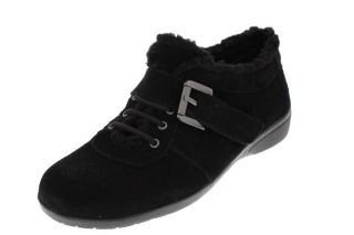 Easy Spirit New Idris Black Suede Stretch Faux Fur Trim Casual Shoes 7