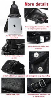 Ifans Presents】Men's Boys Black Cowhide Leather Sling Bag