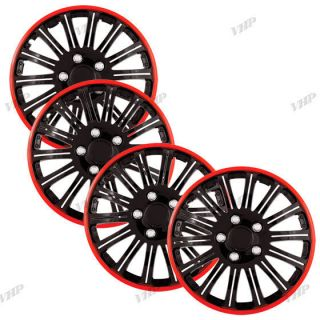 Set of 4 16 Black & Red Hubcaps Center Hub Caps Wheel Rim Covers Free