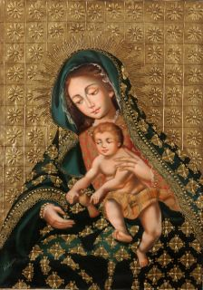 Madonna Original Signed Folk Art Santos Oil Painting