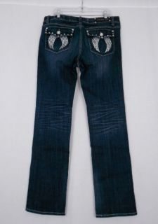 Plus Size La Idol Bootcut Stretch Jeans Crystal Angel Wings Stretch 17
