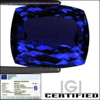 IGI Certified 8 99 ct AAAA Natural DBlock Tanzanite Cushion Cut Deep