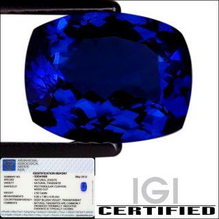 IGI Certified 2.62 ct AAA+ Natural DBlock Tanzanite Rec Cushion Deep