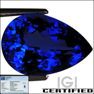 IGI Certified 5 94 ct AAAA Natural DBlock Tanzanite Pear Cut Deep Blue