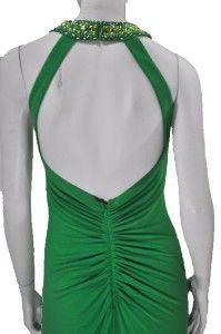 Ignite Evenings Beaded Halter Gown Long Dress Green 2