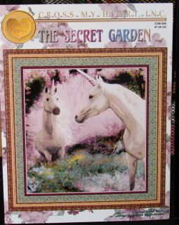 Secret Garden cross stitch chart   two unicorns   Cross My Heart Inc