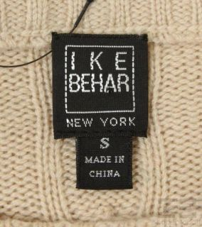 Ike Behar Tan Cashmere Cable Knit Long Sleeve Sweater Size Small