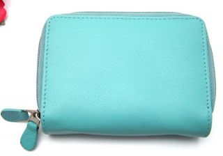 ILI LEATHER CREDIT CARD HOLDER CARD ID CASE TWO ZIP INDEXER TURQUOISE