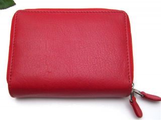 Ili Leather Credit Card Holder Card ID Case Two Zip Indexer Red New