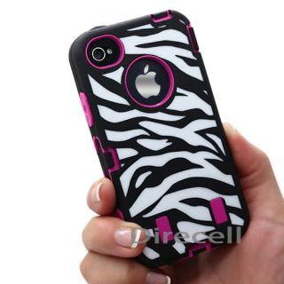 BLACK HOT PINK ZEBRA IMPACT COMBO HARD SILIONCE CASE COVER GEL IPHONE