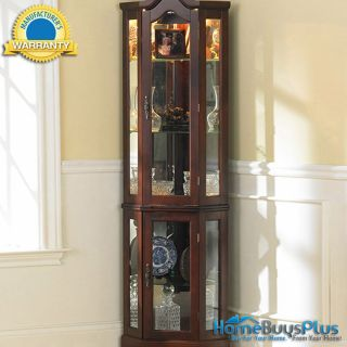 Mahogany Mirror Back Lighted Corner Caleb Display Cabinet Wood Glass