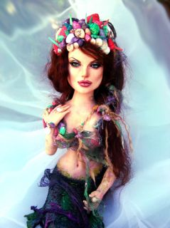 Angelina Jolie Portrait Fantasy Mermaid Sculpture by Laurie Leigh
