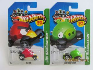 Hot Wheels 2012 HW IMAGINATION ANGRY BIRDS RED BIRD & MINION PIG CARS